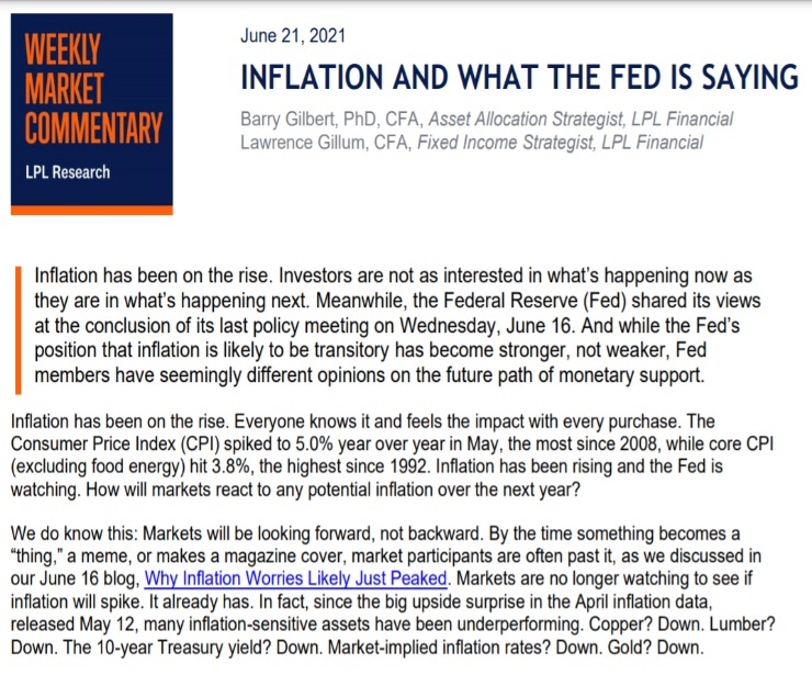 Inflation And What the Fed Is Saying   Weekly Market Commentary   June 21, 2021