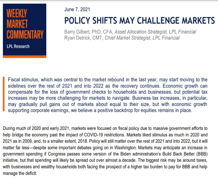 Policy Shifts May Challenge Market   Weekly Market Commentary   June 7,2021