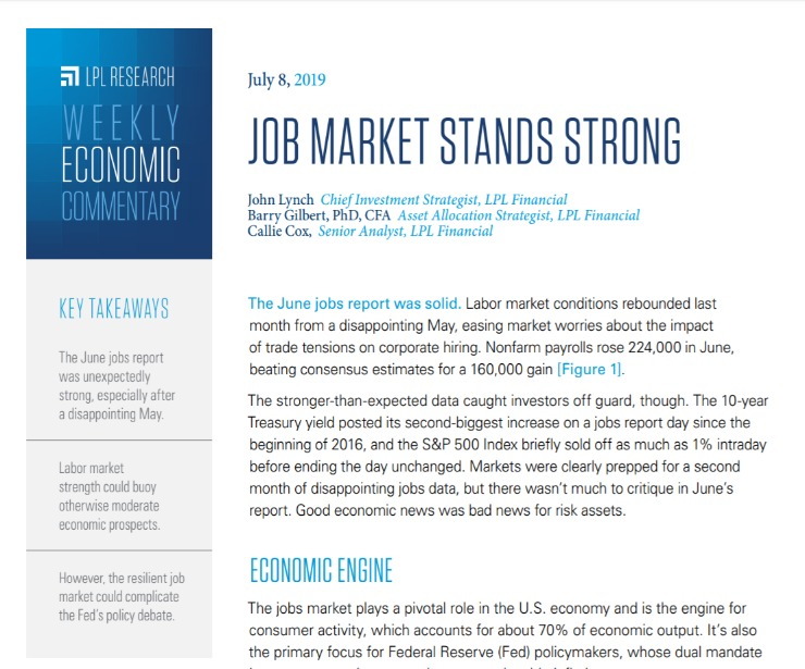 Job Market Stands Strong   Weekly Economic Commentary   July 8, 2019