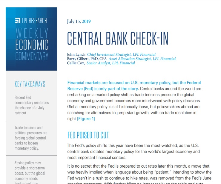 Central Bank Check-In   Weekly Economic Commentary   July 15, 2019