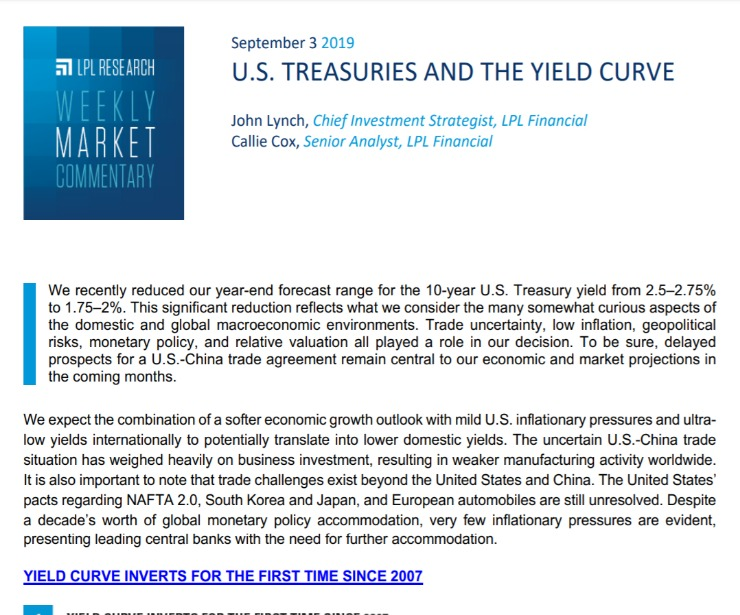 U.S. Treasuries and the Yield Curve | Weekly Market Commentary | September 3, 2019